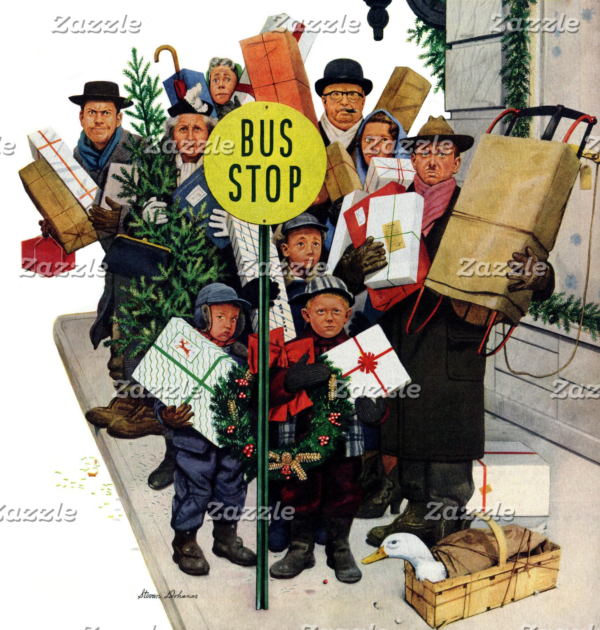 Bus Stop at Christmas