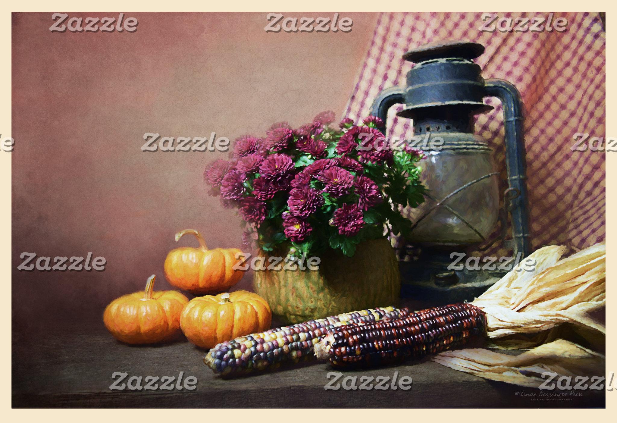 Autumn Still Life With Mums, Lantern and Pumpkins