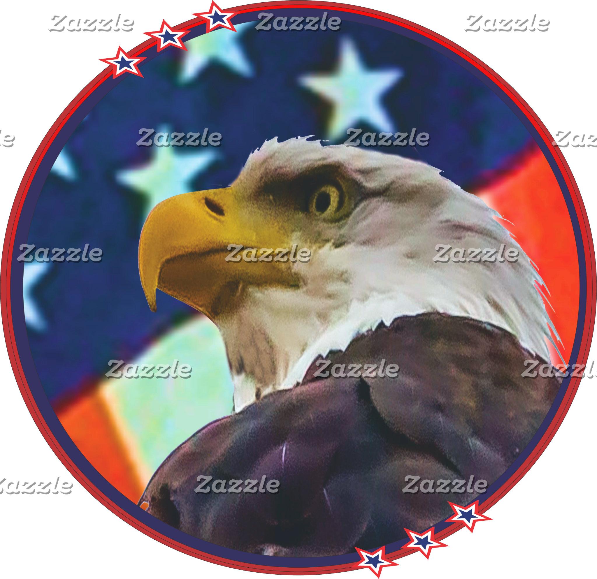 American icons: Bald eagle and U S Flag
