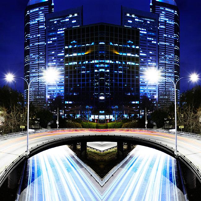 Digital composite of city scape