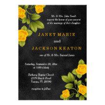 Black Chalkboard and Yellow Rose Wedding