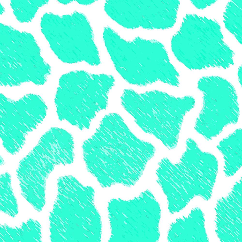 Giraffe Print Pattern Teal Mint Green Ombre