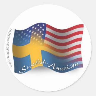 Svensk-Amerikan som vinkar flagga Klistermärken