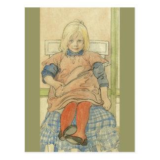 Svensk flicka för vintage på plädstol vykort