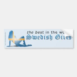 Svensk flickaSilhouetteflagga Bildekal