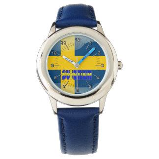 Svensk glansig flagga armbandsur