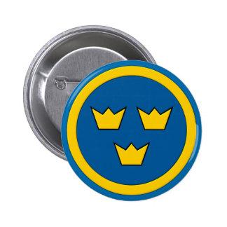 Svensk tre kronor Flygvapnet Standard Knapp Rund 5.7 Cm