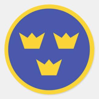 Svenska Tre Kroner Runt Klistermärke