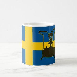 Svenskflagga och Paraffin pressar ugnen Vit Mugg