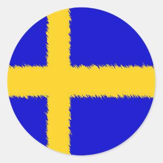 Svenskflagga Runt Klistermärke