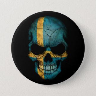 Svenskflaggaskalle på svart mellanstor knapp rund 7.6 cm