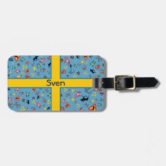 Svenskkulturobjekt med flagga bagagebricka