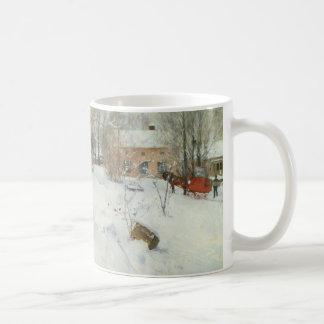Svensklantgård i vinter kaffe kopp