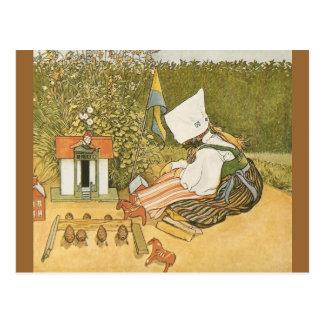 Svenskt barn med leksaker vykort
