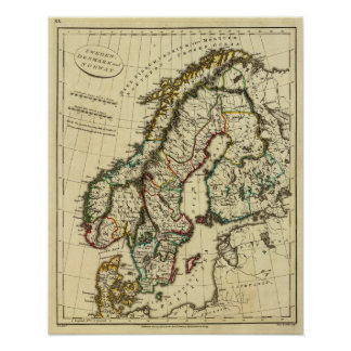 Sverige Danmark, norge med skisserade gränser Poster