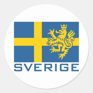 Sverige flagga rund klistermärke