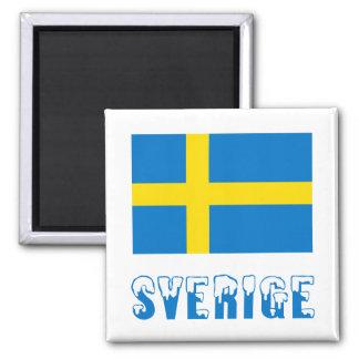Sverige flagga & namn magneter för kylskåp