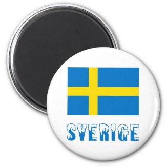 Sverige flagga & namn magnet rund 5.7 cm