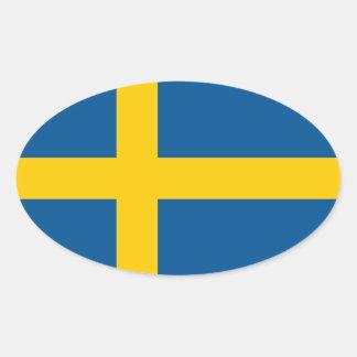 Sverige flagga ovalt klistermärke