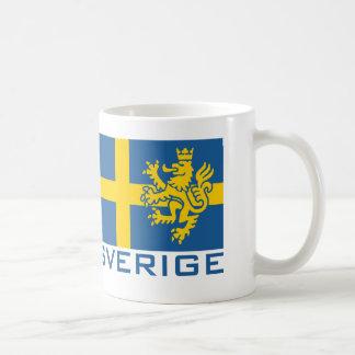 Sverige flagga vit mugg