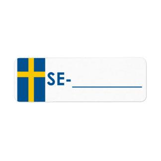 """Sverige """"flaggastil """" för Postcrossing legitimatio Returadress Etikett"""