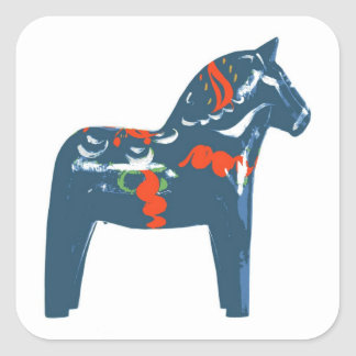 Sverige för modern konst för Dala hästblått Fyrkantiga Klistermärken