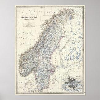 Sverige norge print