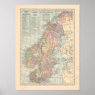 Sverige, norge & karta för Danmark vintage 1923 Poster