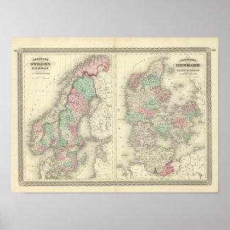 Sverige, norge och Danmark 2 Print