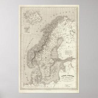 Sverige, norge och Danmark Poster