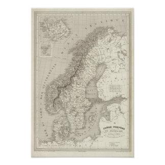 Sverige norge och Danmark Print