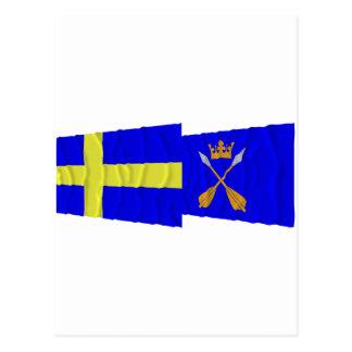 Sverige- och Dalarnas län som vinkar flaggor Vykort