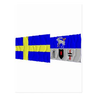 Sverige- och Jämtlands län som vinkar flaggor Vykort