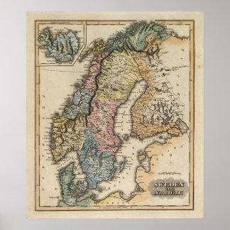 Sverige och norge 6 affisch