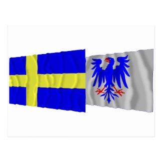 Sverige- och Värmlands län som vinkar flaggor Vykort