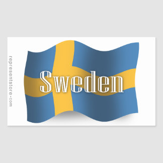 Sverige som vinkar flagga rektangulärt klistermärke
