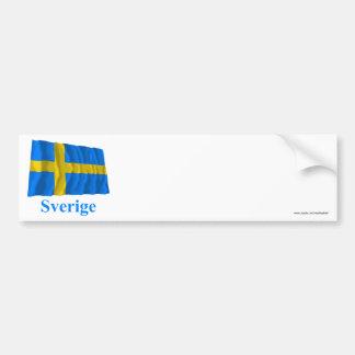 Sverige som vinkar flagga med namn i svensk bildekal