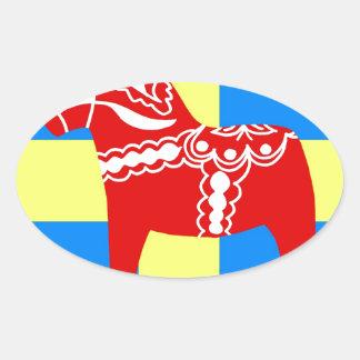 SverigeDala häst Ovalt Klistermärke