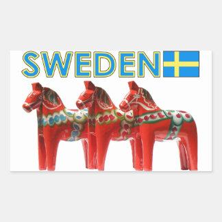 SverigeDala hästar Rektangulärt Klistermärke