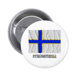 Sverigefinska som vinkar flagga med namn standard knapp rund 5.7 cm