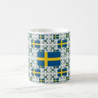 Sverigeflagga i åtskilliga lagrar vit mugg