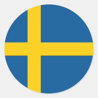 Sverigeflaggaklistermärke Rund Klistermärke