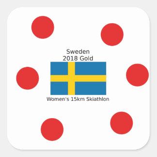 Sverigeguld 2018 - kvinna 15km Skiathlon Fyrkantigt Klistermärke