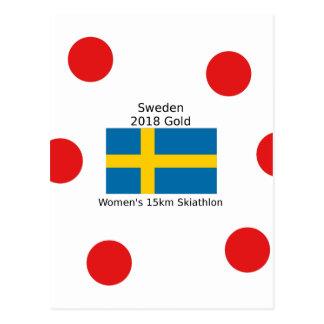 Sverigeguld 2018 - kvinna 15km Skiathlon Vykort