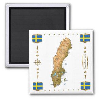 Sverigekarta + Flaggormagnet Magneter För Kylskåp