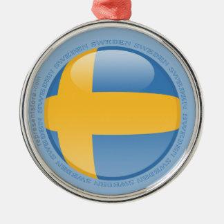 Sverigen bubblar flagga rund silverfärgad julgransprydnad