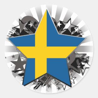 Sverigestjärna Runt Klistermärke