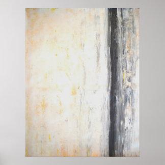 """""""Svetsad"""" abstrakt konst för grå färg och för gult Poster"""