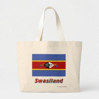 Swasiland Flagge mit Namen Canvas Bag
