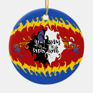 Swaziland Gnarly flagga Rund Julgransprydnad I Keramik